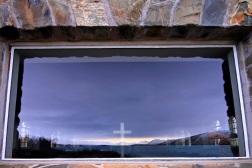 Lake Tekapo reflection on Good shepherd church window, Lake Tekapo, 2009